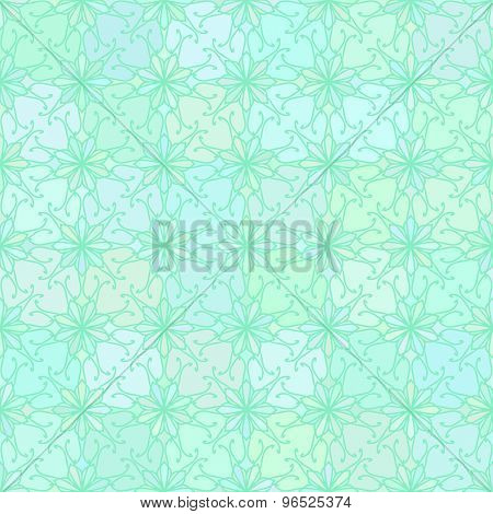 Abstract vector background Seamless floral grid texture Aquamarine colors