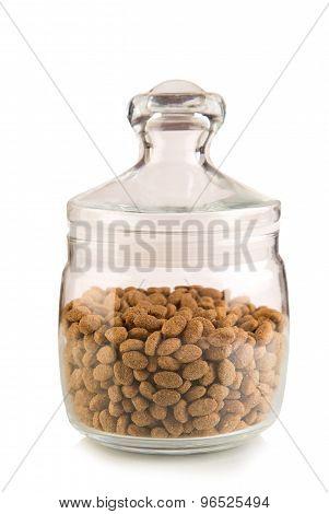 Airtight glass jar with cereal