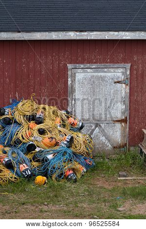 Buoy's And Rope Outside A Fishmans Huts