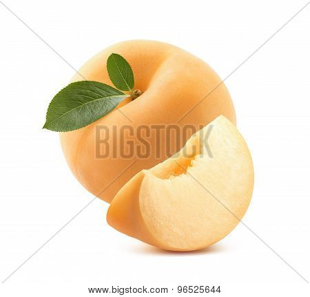 Round Apricot And Quarter Isolated On White Background