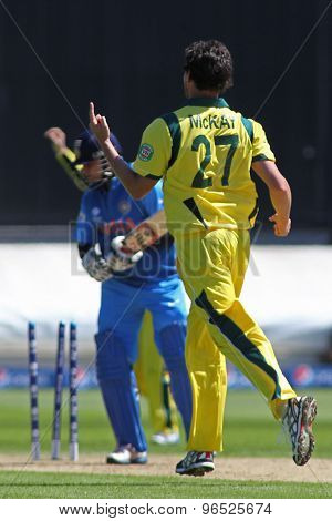 CARDIFF, WALES - June 04 2013: Australia's Clint McKay celebrates taking the wicket of India's Suresh Raina during the ICC Champions Trophy warm up match between India and Australia