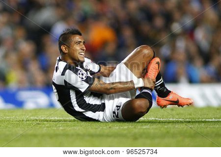 LONDON, ENGLAND. September 19 2012 Juventus's Chilian midfielder Arturo Vidal   during the UEFA Champions League football match between Chelsea and Juventus played at Stamford Bridge