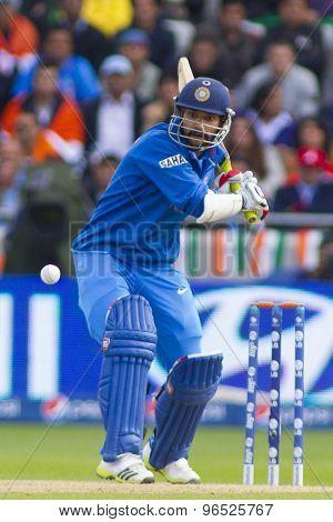 EDGBASTON, ENGLAND - June 15 2013: India's Shikhar Dhawan batting during the ICC Champions Trophy cricket match between India and Pakistan at Edgbaston Cricket Ground.