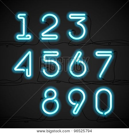 Blue neon light alphabet numbers with cable. Vector.