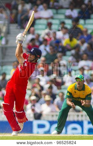 LONDON, ENGLAND - June 19 2013: England's Alastair Cook batting during the ICC Champions Trophy semi final match between England and South Africa at The Oval Cricket Ground