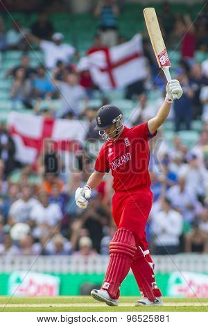 LONDON, ENGLAND - June 19 2013: Jonathan Trott celebrates hitting the winning run in the ICC Champions Trophy semi final match between England and South Africa at The Oval Cricket Ground