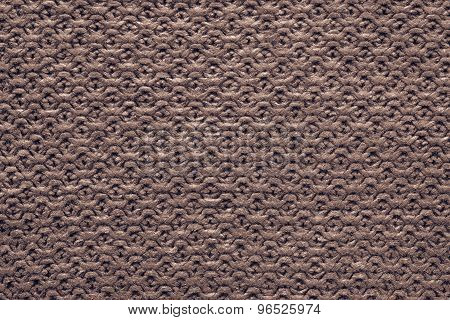 Knitted Cellular Texture Of Terracotta Brown Color