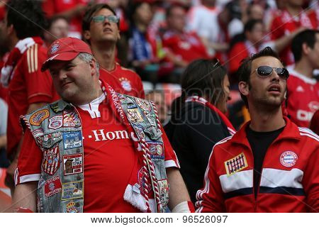 MUNICH, GERMANY May 19 2012. Munich fans prepare for the 2012 UEFA Champions League Final at the Allianz Arena Munich contested by Chelsea and Bayern Munich