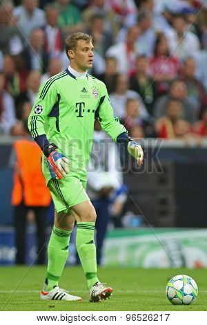 MUNICH, GERMANY May 19 2012. Bayern's German goalkeeper Manuel Neuer in action during the 2012 UEFA Champions League Final at the Allianz Arena Munich contested by Chelsea and Bayern Munich