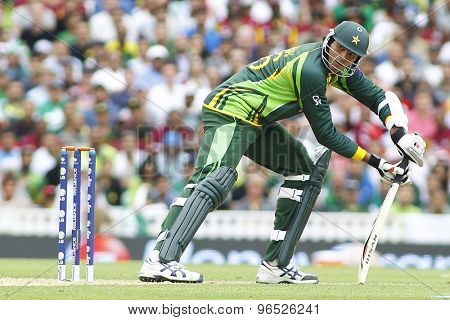 LONDON, ENGLAND - June 07 2013: Pakistan's Muhammad Irfan batting during the ICC Champions Trophy cricket match between Pakistan and The West Indies at The Oval Cricket Ground.