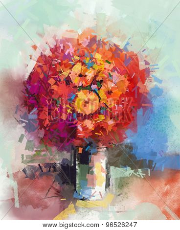 Abstract Still Life A Bouquet Of Flowers