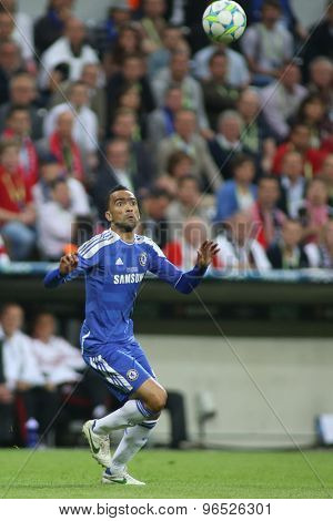 MUNICH, GERMANY May 19 2012. Chelsea's Portuguese defender Jos���½ Bosingwa in action during the 2012 UEFA Champions League Final at the Allianz Arena Munich contested by Chelsea and Bayern Munich
