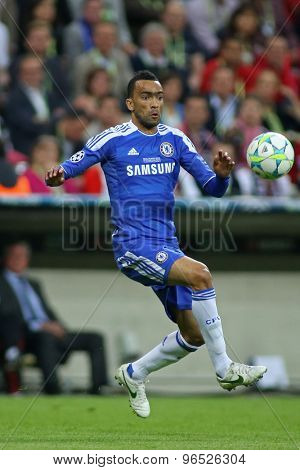 MUNICH, GERMANY May 19 2012. Chelsea's Portuguese defender Jos���© Bosingwa in action during the 2012 UEFA Champions League Final at the Allianz Arena Munich contested by Chelsea and Bayern Munich