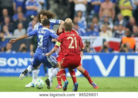 MUNICH, GERMANY May 19 2012. Chelsea's English defender Ashley Cole and Bayern's German defender Philipp Lahm in action during the 2012 UEFA Champions League Final at the Allianz Arena Munich