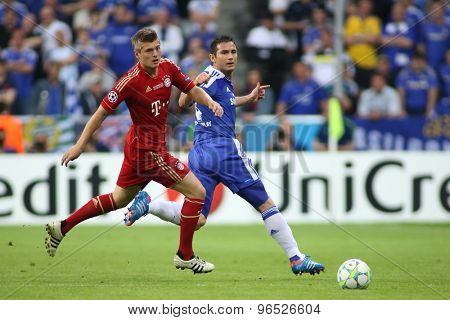 MUNICH, GERMANY May 19 2012. Bayern's German midfielder Toni Kroos and Chelsea's English midfielder Frank Lampard in action during the 2012 UEFA Champions League Final at the Allianz Arena Munich