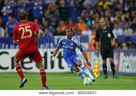 MUNICH, GERMANY May 19 2012. Bayern's German forward Thomas Muller and Chelsea's English defender Ashley Cole in action during the 2012 UEFA Champions League Final at the Allianz Arena Munich