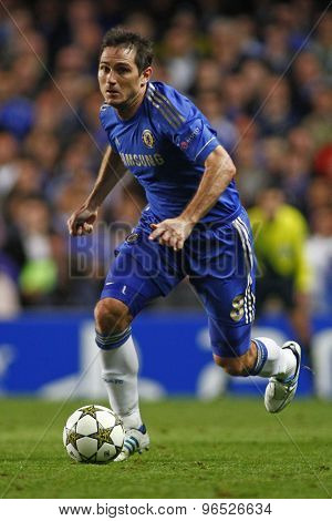 LONDON, ENGLAND. September 19 2012  Chelsea's English midfielder Frank Lampard  during the UEFA Champions League football match between Chelsea and Juventus played at Stamford Bridge
