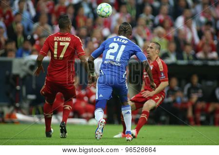 MUNICH, GERMANY May 19 2012. Bayern's German defender Jerome Boateng and Chelsea's Ivory Coast forward Salomon Kalou in action during the 2012 UEFA Champions League Final at the Allianz Arena