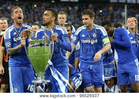 MUNICH, GERMANY May 19 2012. Chelsea with the trophy after winning the 2012 UEFA Champions League Final at the Allianz Arena Munich contested by Chelsea and Bayern Munich