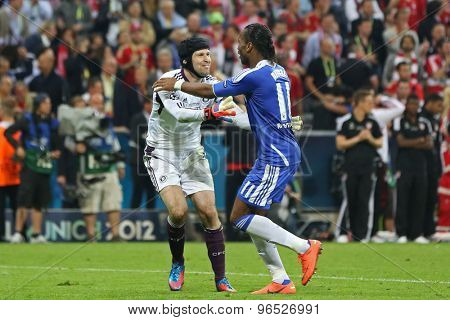 MUNICH, GERMANY May 19 2012. Chelsea's Czech goalkeeper Petr Cech  and Chelsea's Ivory Coast forward Didier Drogba celebrate winning the 2012 UEFA Champions League Final at the Allianz Arena Munich