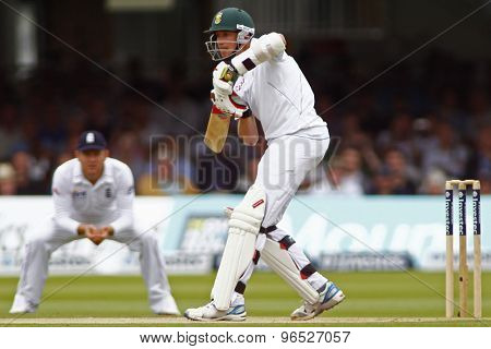 LONDON, ENGLAND. AUGUST 17 2012 South Africa's Dale Steyn batting during the third Investec cricket  test match between England and South Africa, at Lords Cricket Ground