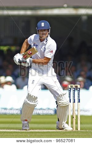 LONDON, ENGLAND. AUGUST 17 2012 England's Alastair Cook batting during the third Investec cricket  test match between England and South Africa, at Lords Cricket Ground