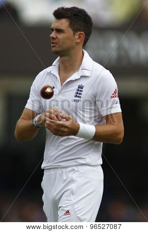 LONDON, ENGLAND. AUGUST 17 2012 England's James Anderson during the third Investec cricket  test match between England and South Africa, at Lords Cricket Ground