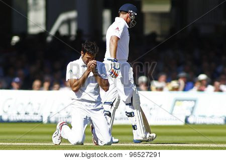 LONDON, ENGLAND. AUGUST 17 2012 South Africa's Imran Tahir is on his knees during the third Investec cricket  test match between England and South Africa, at Lords Cricket Ground