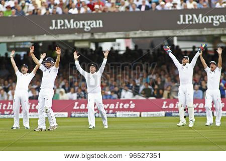 LONDON, ENGLAND. AUGUST 16 2012 England playersappeal for a wicket during the third Investec cricket  test match between England and South Africa, at Lords Cricket Ground