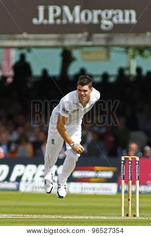 LONDON, ENGLAND. AUGUST 16 2012 England's James Anderson bowling during the third Investec cricket  test match between England and South Africa, at Lords Cricket Ground