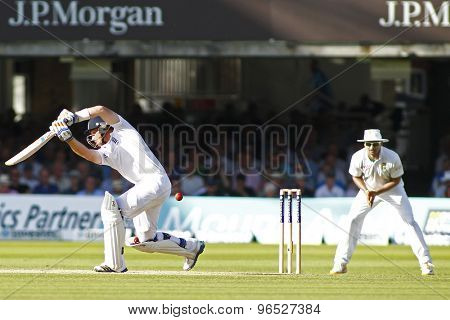 LONDON, ENGLAND. AUGUST 17 2012 England's Ian Bell edges the ball to South Africa's Alviro Petersen and is caught out during the third Investec cricket  test match between England and South Africa