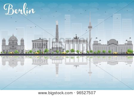 Berlin skyline with grey building, blue sky and reflections. Vector illustration