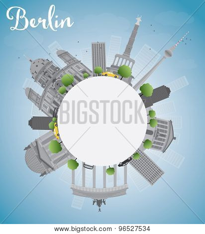 Berlin skyline with grey building, blue sky and copy space. Vector illustration