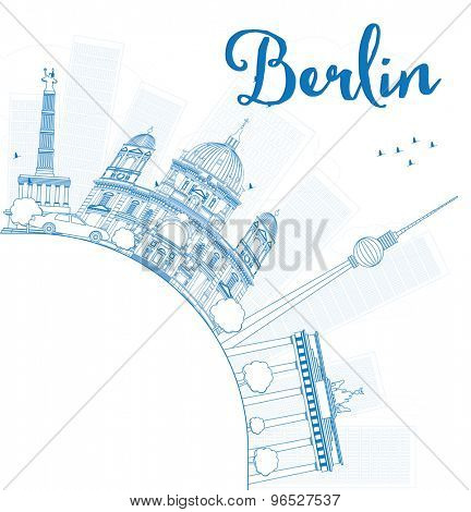 Berlin skyline with blue building and copy space. Vector illustration