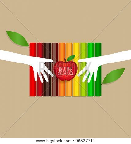 Welcome back to school with Apple and Color pencils background, vector illustration.