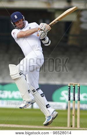 LONDON, ENGLAND. AUGUST 20 2012 England's Graeme Swann hits a six during the third Investec cricket  test match between England and South Africa, at Lords Cricket Ground