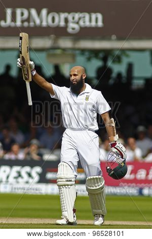 LONDON, ENGLAND. AUGUST 19 2012 South Africa's Hashim Amla celebrates a century during the third Investec cricket  test match between England and South Africa, at Lords Cricket Ground