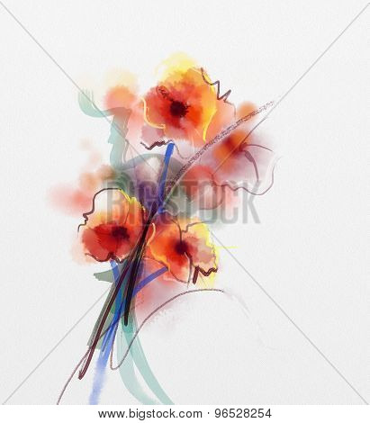 Red Poppy  Floral Watercolor Painting