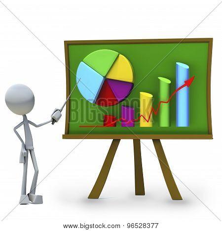 3D-karaktär presentera stapeldiagram isolerad på vit bakgrund  -  Stockbild