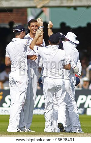 LONDON, ENGLAND. AUGUST 19 2012 England's Steven Finn celebrates a wicket during the third Investec cricket  test match between England and South Africa, at Lords Cricket Ground