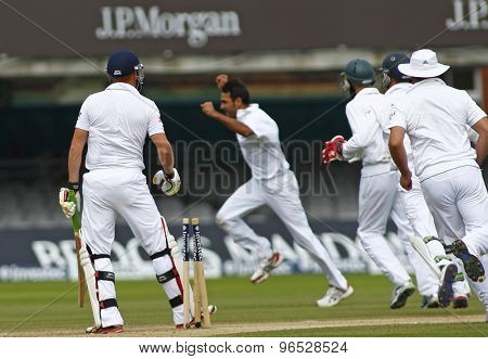 LONDON, ENGLAND. AUGUST 20 2012 England's Jonny Bairstow looks on after being bowled by a runningImran Tahir during the third Investec cricket  test match between England and South Africa