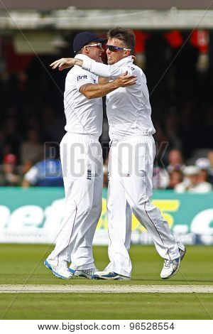 LONDON, ENGLAND. AUGUST 16 2012 England's Andrew Strauss and England's Graeme Swann after he bowled South Africa's Jacques Rudolph during the third Investec test match between England and South Africa