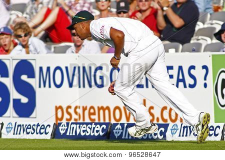LONDON, ENGLAND. AUGUST 19 2012 South Africa's Vernon Philander fielding  during the third Investec cricket  test match between England and South Africa, at Lords Cricket Ground