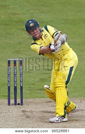 CHESTER LE STREET, ENGLAND. JULY 07 2012: Australia's Brett Lee, batting during the 4th one day international between England and Australia