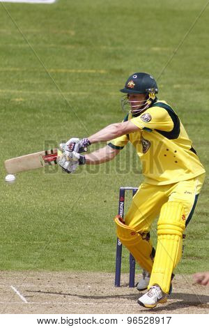 CHESTER LE STREET, ENGLAND. JULY 07 2012: Australia's David Hussey, batting during the 4th one day international between England and Australia