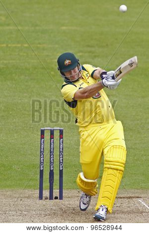 CHESTER LE STREET, ENGLAND. JULY 07 2012: Australia's Shane Watson, hits a six off a free ball from England's Stuart Broad, during the 4th one day international between England and Australia