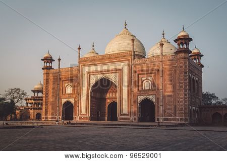 AGRA, INDIA - 28 FEBRUARY 2015: Mosque on the West side of Taj Mahal. Post-processed with grain, texture and colour effect.