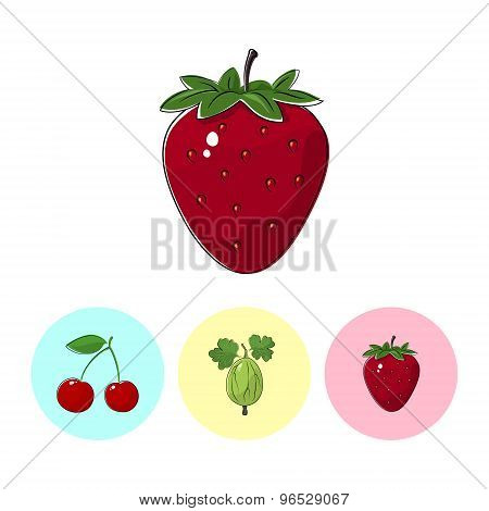 Fruit Icons, Strawberry, Gooseberry ,cherry