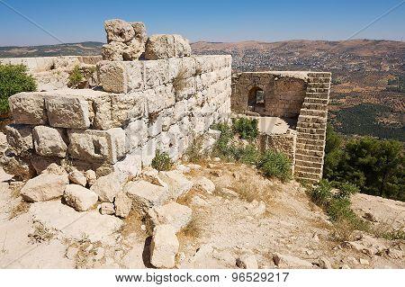 View to the ruins of the Ajloun fortress in Ajloun, Jordan.