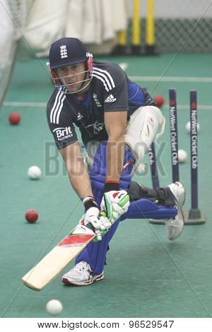CHESTER LE STREET, ENGLAND. JULY 06 2012: England's Tim Bresnan,  during the official training and net session prior to the 4th one day international between England and Australia